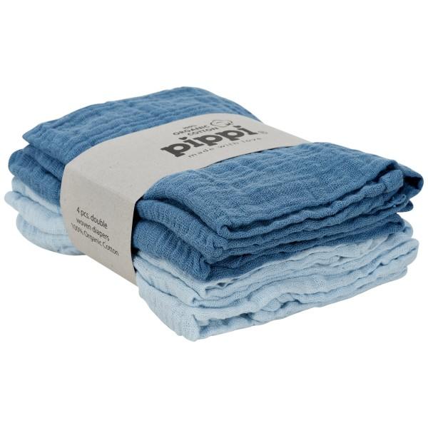 Pippi Organic Mullwindeln hellblau/blau 4er Pack