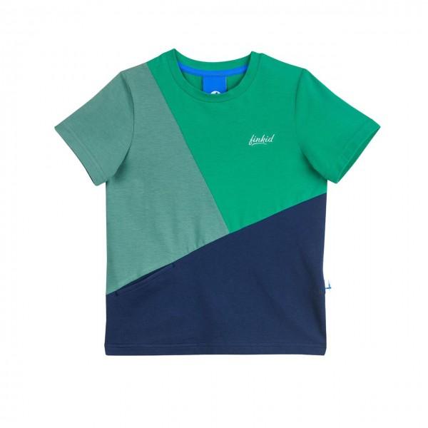 Finkid ANKKURI T-Shirt pepper green/navy Kurzarm Colorblocking