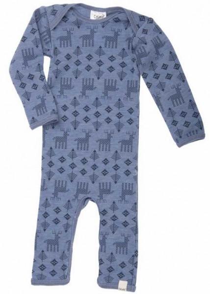 Celavi Overall Wolle Elche blau melange