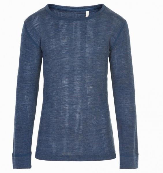 Celavi Langarmshirt jeansblau Merinowolle Unterhemd