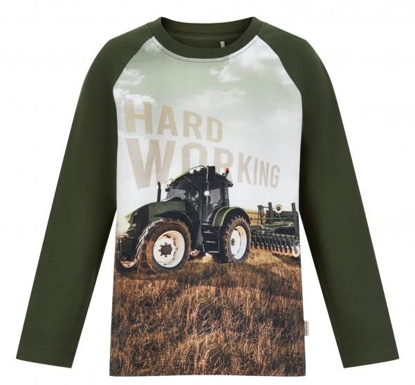 Minymo Traktor Shirt dark oliv Langarm für Kinder