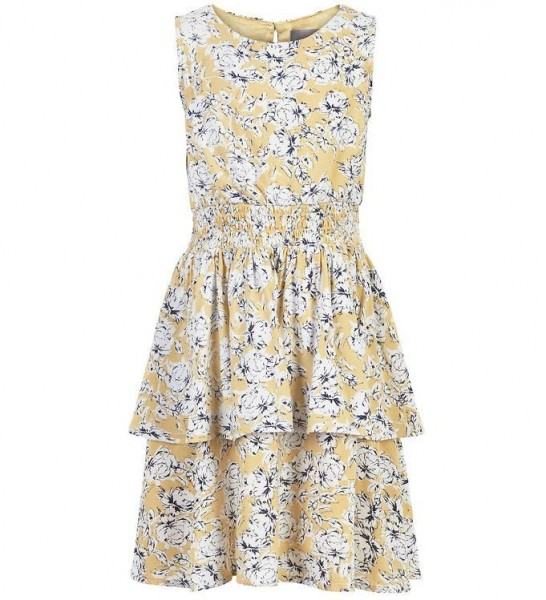 Creamie Mädchenkleid strohgelb/weiß Flowers