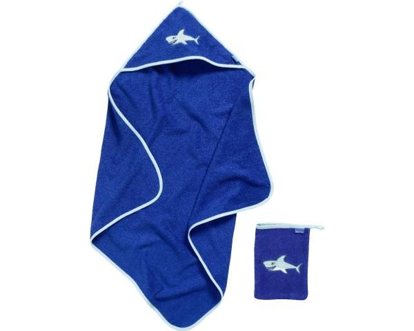 Geschenkset Hai meerblau Kapuzen Badetuch + Waschhandschuh Ökotex100