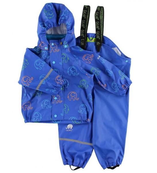 CeLaVi Baby Regenanzug Zweiteiler blau mit bunten Elefanten