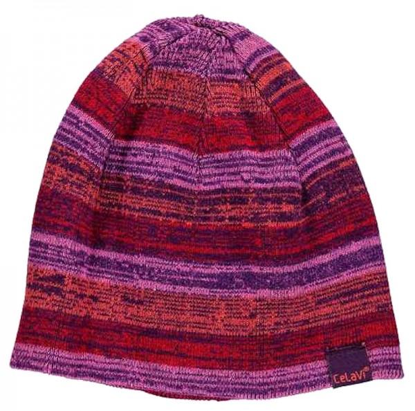 Celavi Wintermütze Kinder Strickmütze pink/lila/rot melliert Ringel