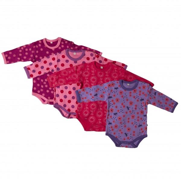 Pippi Langarm Body pink Dots & Blümchen 4er Pack Baumwolle