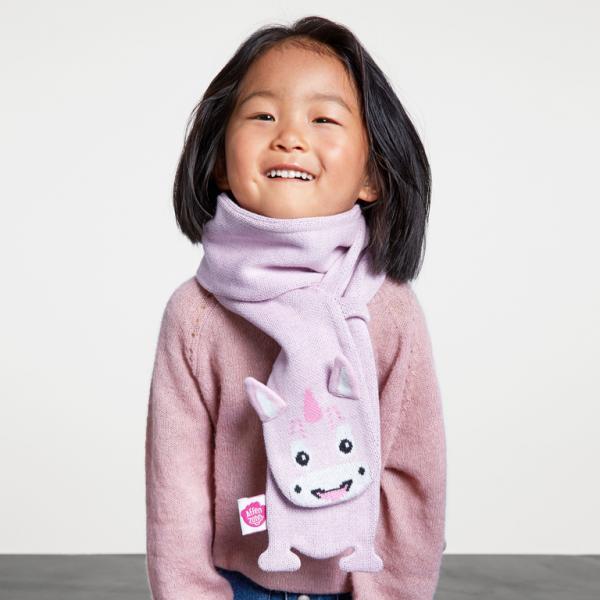 Affenzahn Mädchen Schal Einhorn rosa aus Baumwolle