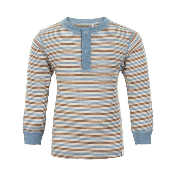 Celavi Langarmshirt Wolle geringelt blue Shadow