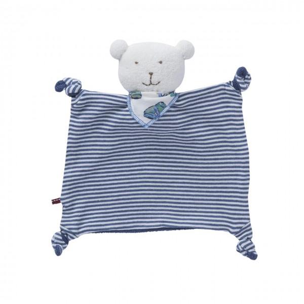 Baby Schmusetuch Bär blau geringelt Biobaumwolle