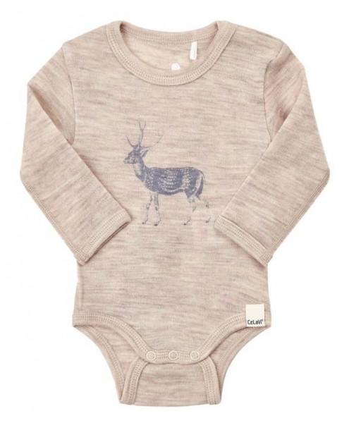 Celavi Baby Body Wolle Hirsch beige melange