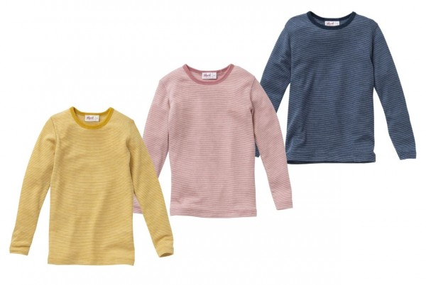People Wear Organic Langarmshirt Wolle-Seide geringelt