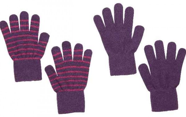 Celavi Wollhandschuhe lila/pink geringelt Doppelpack 2 Paar Fingerhandschuhe