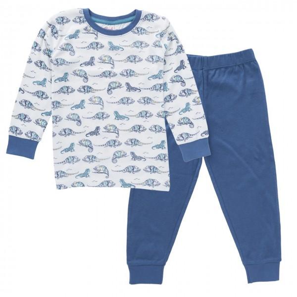 Jungen Schlafanzug Chamäleon Pyjama Bio-Baumwolle