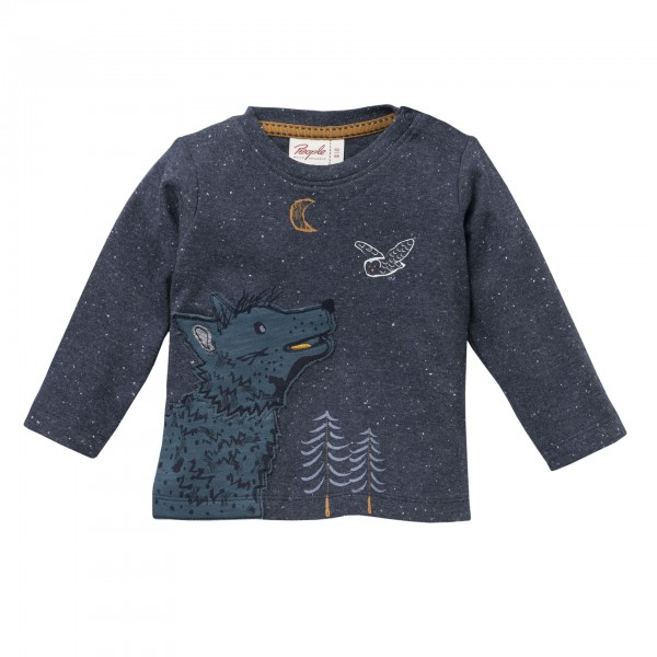 People wear Organic Langarmshirt Wolf dunkelblau melange