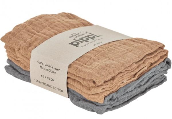 Pippi Bio Mulltücher nougat/grau 4er Pack Organic