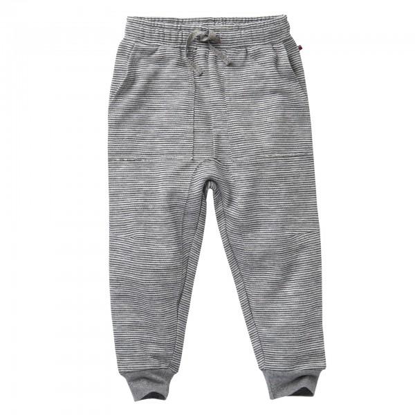 People Wear Organic Sweat-Hose Jogginghose grau/ecru gestreift