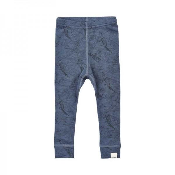 Celavi Baby Leggings Wolle jeansblau mit Flugzeugen