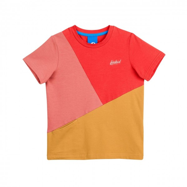 Finkid ANKKURI T-Shirt red/harvest gold Kurzarmshirt Colorblocking