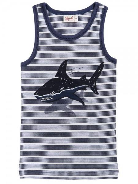 People Wear Organic Gestreiftes Jungen Unterhemd großer Hai Bio-Baumwolle