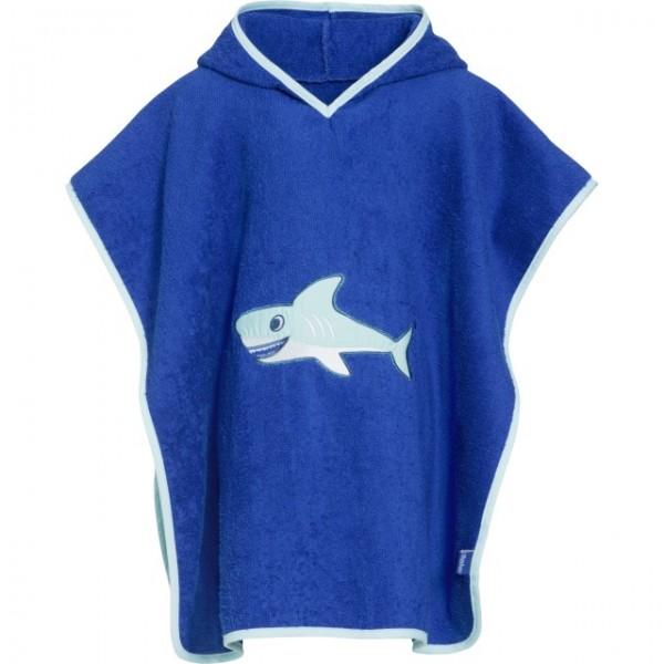 Kinder Badeponcho Hai blau Frottee Badeumhang Ökotex100