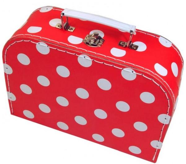 Pappkoffer Kinderkoffer aus Pappe rot mit Pünktchen
