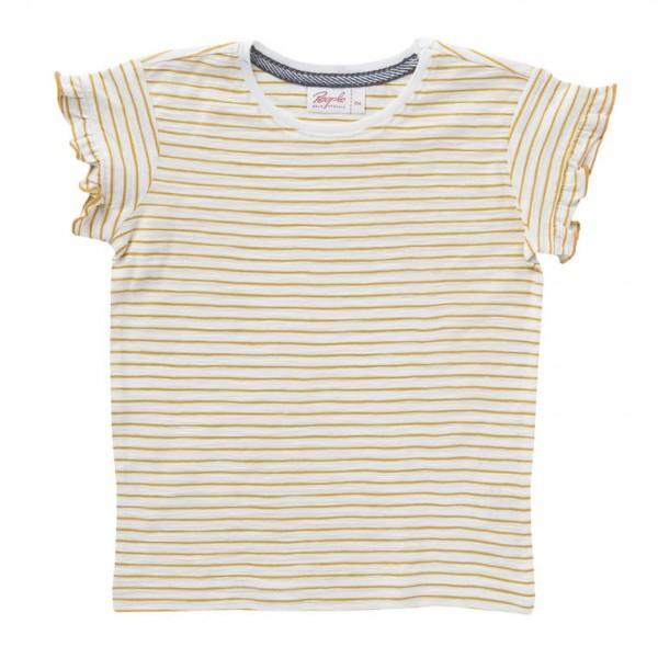 Mädchen T-Shirt gelb/natur Ringel Jersey Bio-Baumwolle