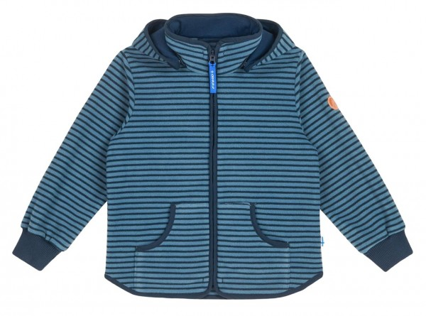 Finkid TONTTU STRIPED blue mirage/navy Zip-In Fleece Jacke mit Kapuze
