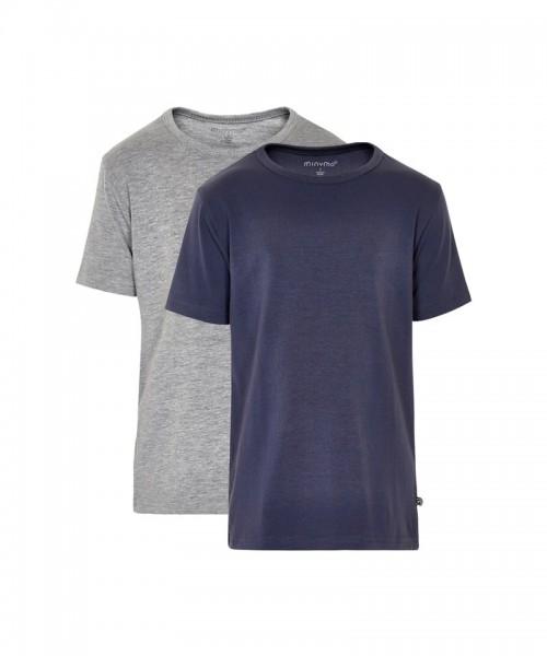 Minymo 2er Pack T-shirts navy/hellgrau Kurzarm