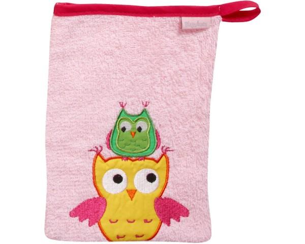 Waschhandschuh rosa Eulen Ökotex100