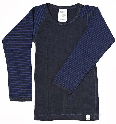 Celavi Kinder Unterhemd navy royal geringelt Langarm Merino Schurwolle Ökotex100