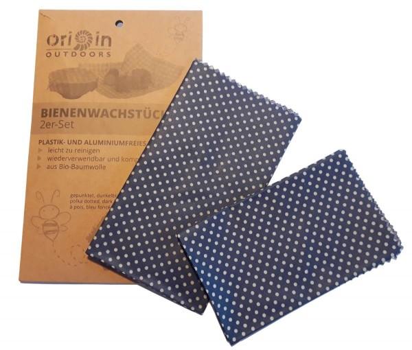 Bienenwachstücher 2er Pack blau Pünktchen Bio-Baumwolle