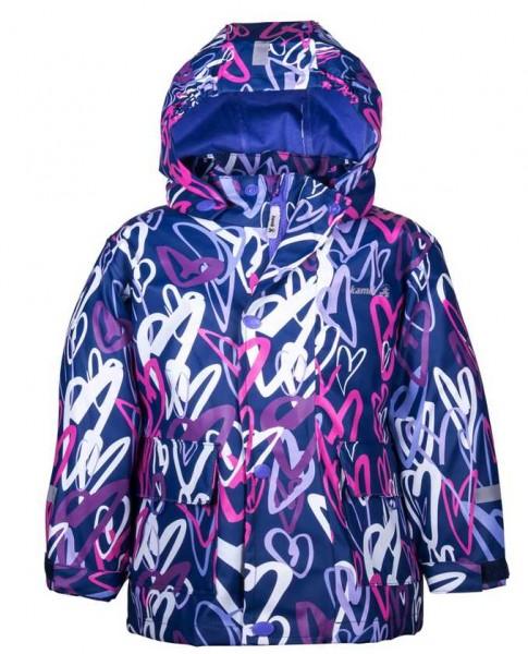 Kamik Kinder Regenjacke cool Hearts blau mit Textilfutter
