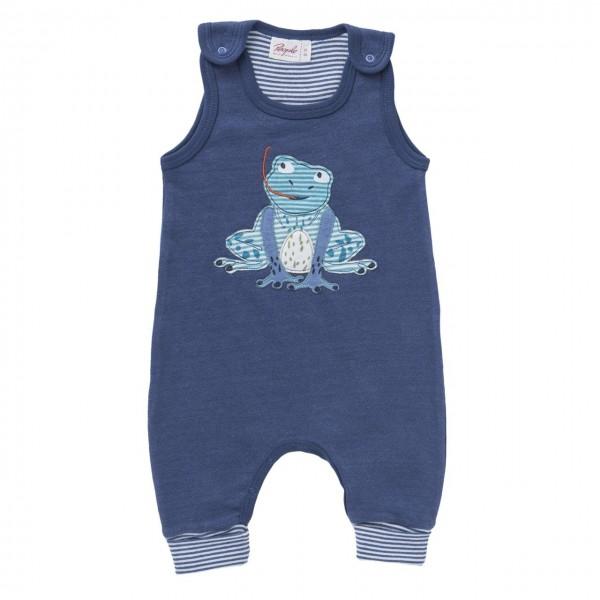 Baby Strampler Frosch jeansblau melange Bio-Baumwolle