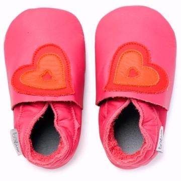 Bobux Krabbelschuhe pink/orange Herzen
