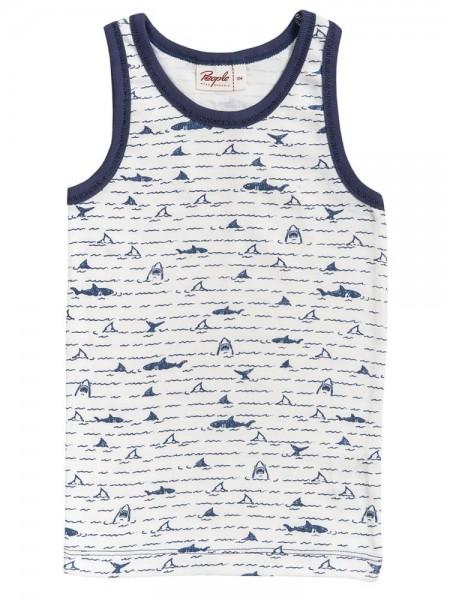 Jungen Unterhemd Haie weiß/blau Wellen Bio-Baumwolle