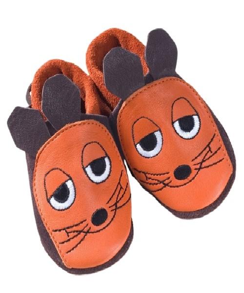 """Pololo Hausschuhe """"Die Maus"""" aus der Sendung mit der Maus orange/braun"""