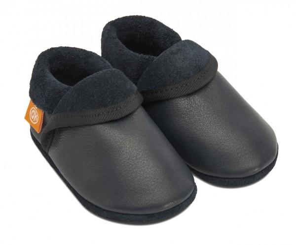 Pololo & Orangenkinder Hausschuhe dunkelblau Klassik uni