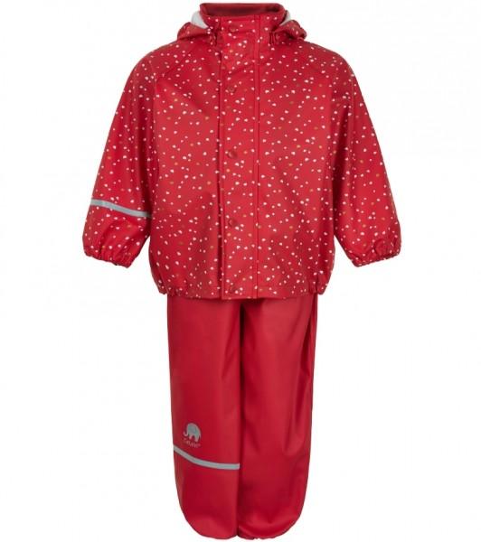 CeLaVi Mädchen Regenanzug rot Herzchen Set Regenhose + Regenjacke