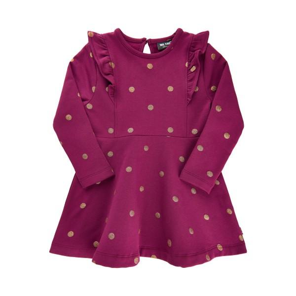 MeToo Mädchen Kleid purple mit schimmernden Goldpunkten