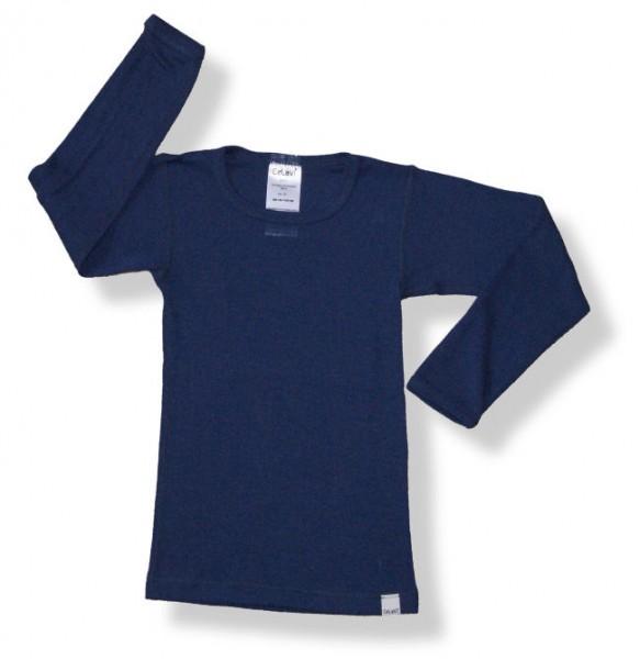 Celavi Kinder Unterhemd dunkelblau Langarm Merino Schurwolle Ökotex100