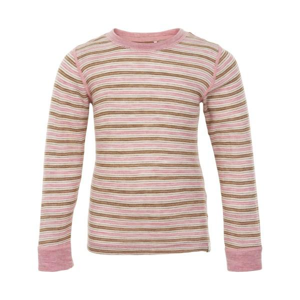 Celavi Langarmshirt Wolle geringelt rosa natur Merinowolle