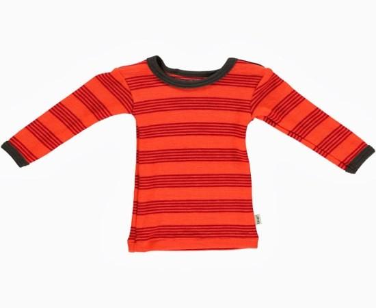 Celavi Baby Wollshirt orange/korallenrot geringelt Langarm