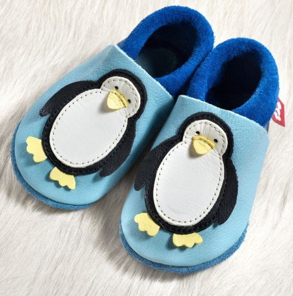 Pololo Hausschuhe Pinguin hellblau