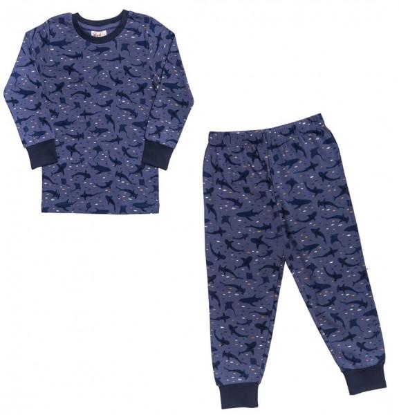 Jungen Schlafanzug navy Haie + Rochen Pyjama Bio-Baumwolle