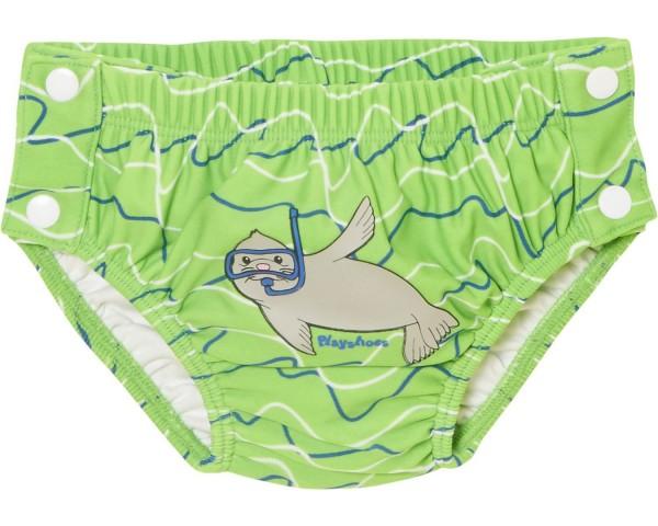 Schwimmwindel Robbe hellgrün Baby Badehose mit Druckknöpfen