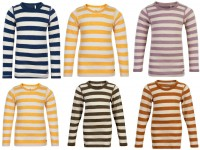 Celavi Kinder Wollshirt Langarmshirt Blockstreifen