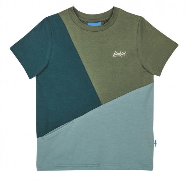 Finkid ANKKURI T-Shirt bronze green/trellis Kurzarm Colorblocking