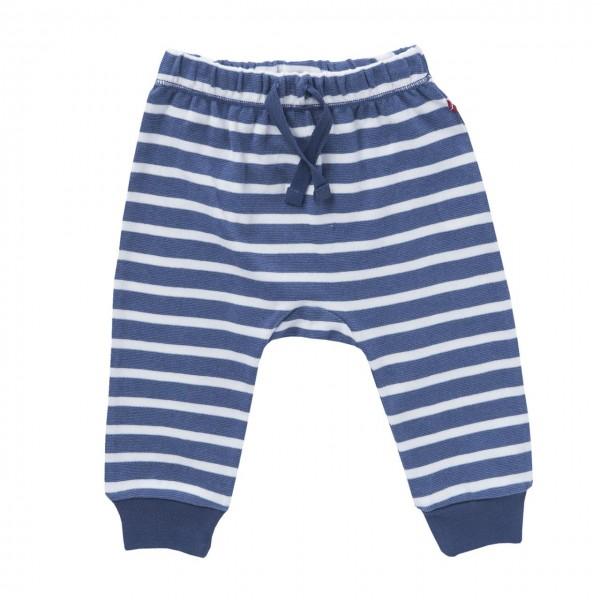 Jersey Babyhose blau/weiß Blockstreifen Bio-Baumwolle