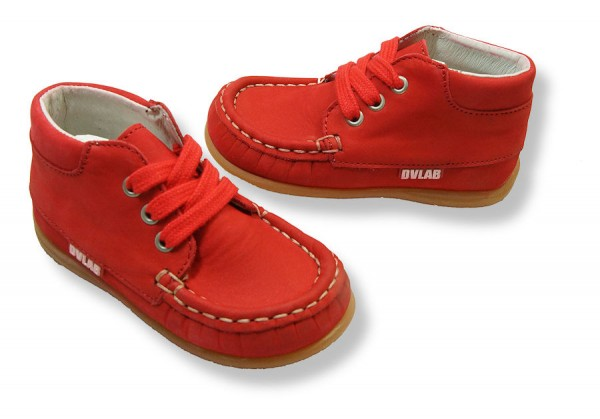 Develab Lauflernschuhe Leder extra weich Mokassins rot