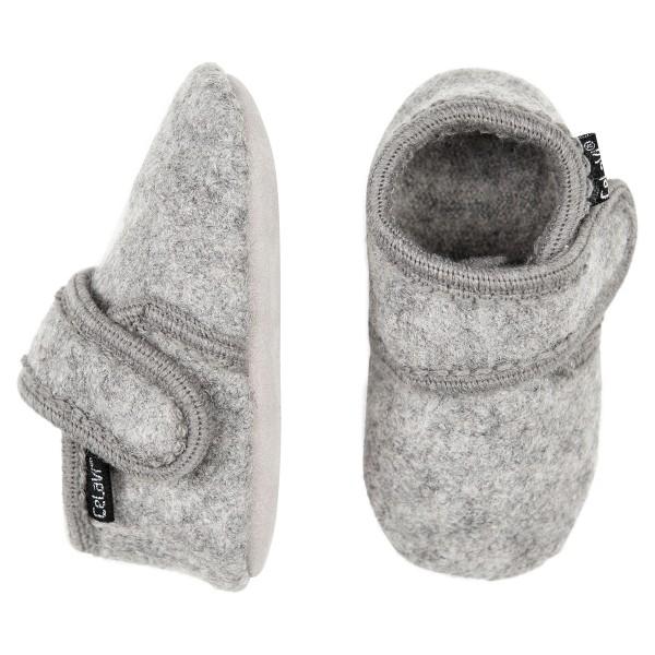 Celavi Hausschuhe hellgrau melange Wolle Kinderhausschuhe